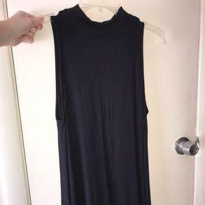 Solid black mock neck tank top dress
